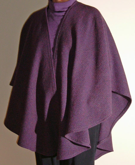 Wool cape designed, woven and swen by Louise  French.  Pattern is available without cost.